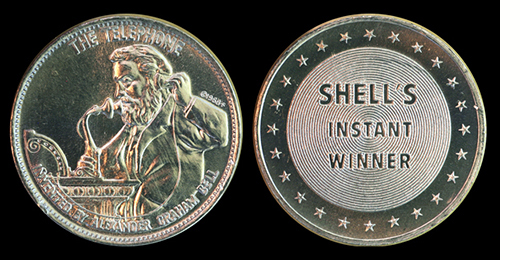 1968 Shell/'s Famous Facts /& Faces Game Token Benjamin Franklin RH